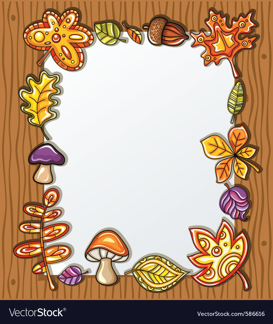 Frame with autumnal nature symbols vector | Price: 3 Credit (USD $3)