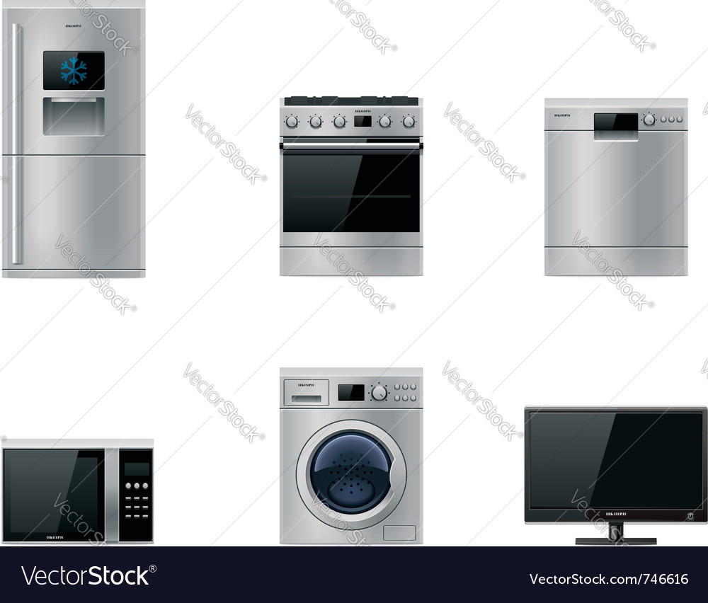 Major appliances set vector | Price: 3 Credit (USD $3)