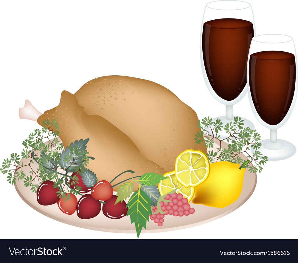 Thanksgiving turkey with lemon berry fruit vector | Price: 1 Credit (USD $1)