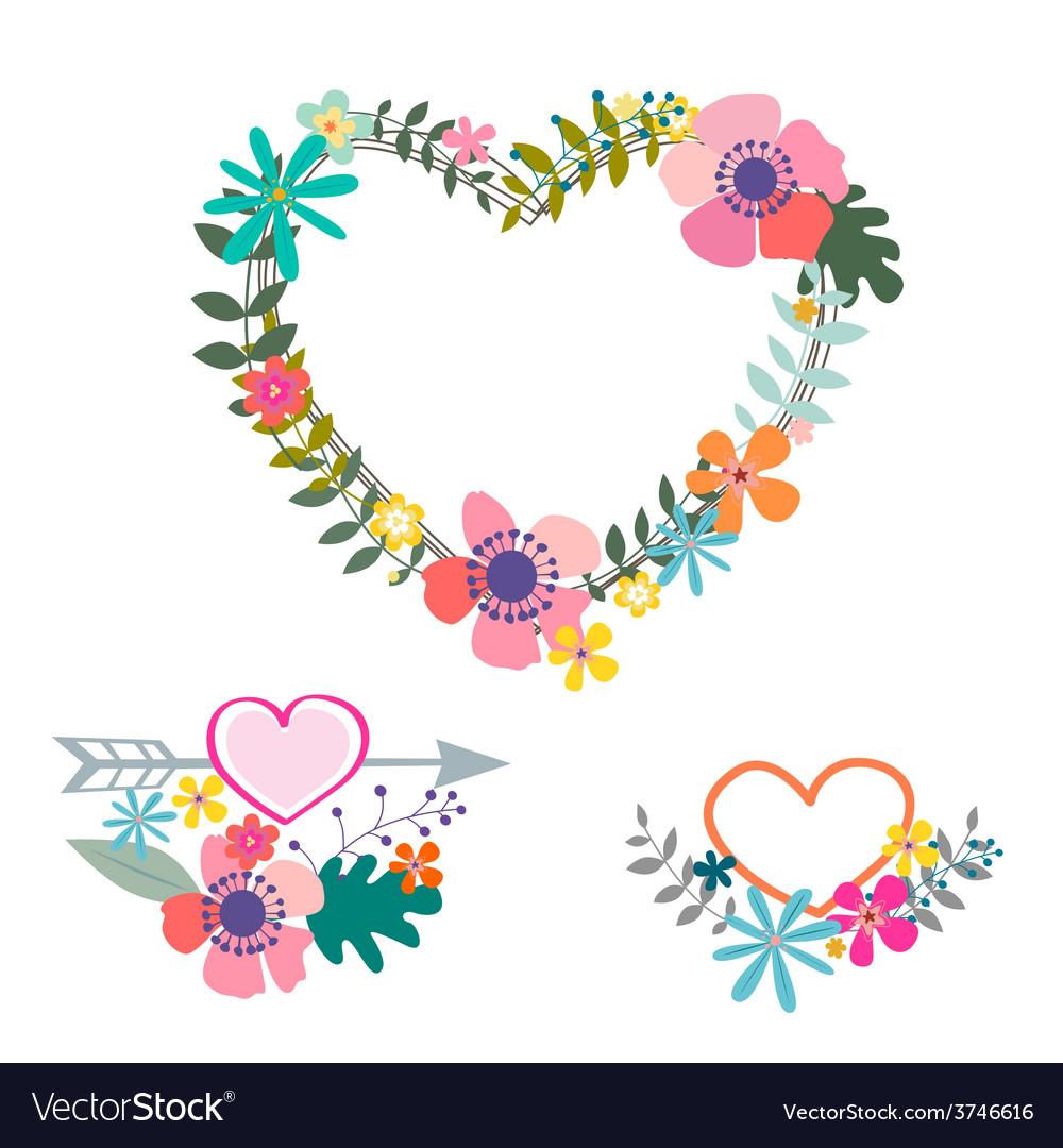 Valentine floral wreathes vector | Price: 1 Credit (USD $1)