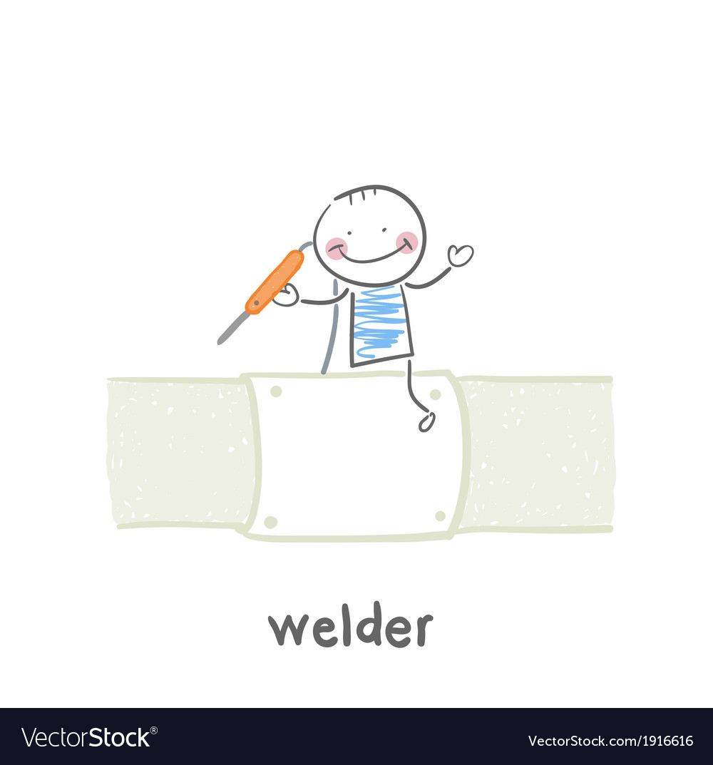 Welder near pipes with welding machine vector | Price: 1 Credit (USD $1)