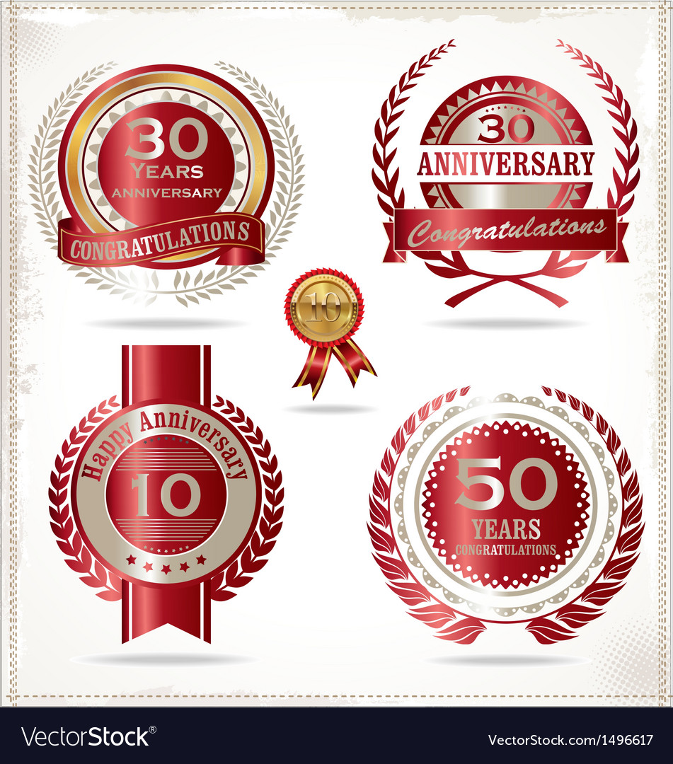 Anniversary retro red labels vector | Price: 3 Credit (USD $3)
