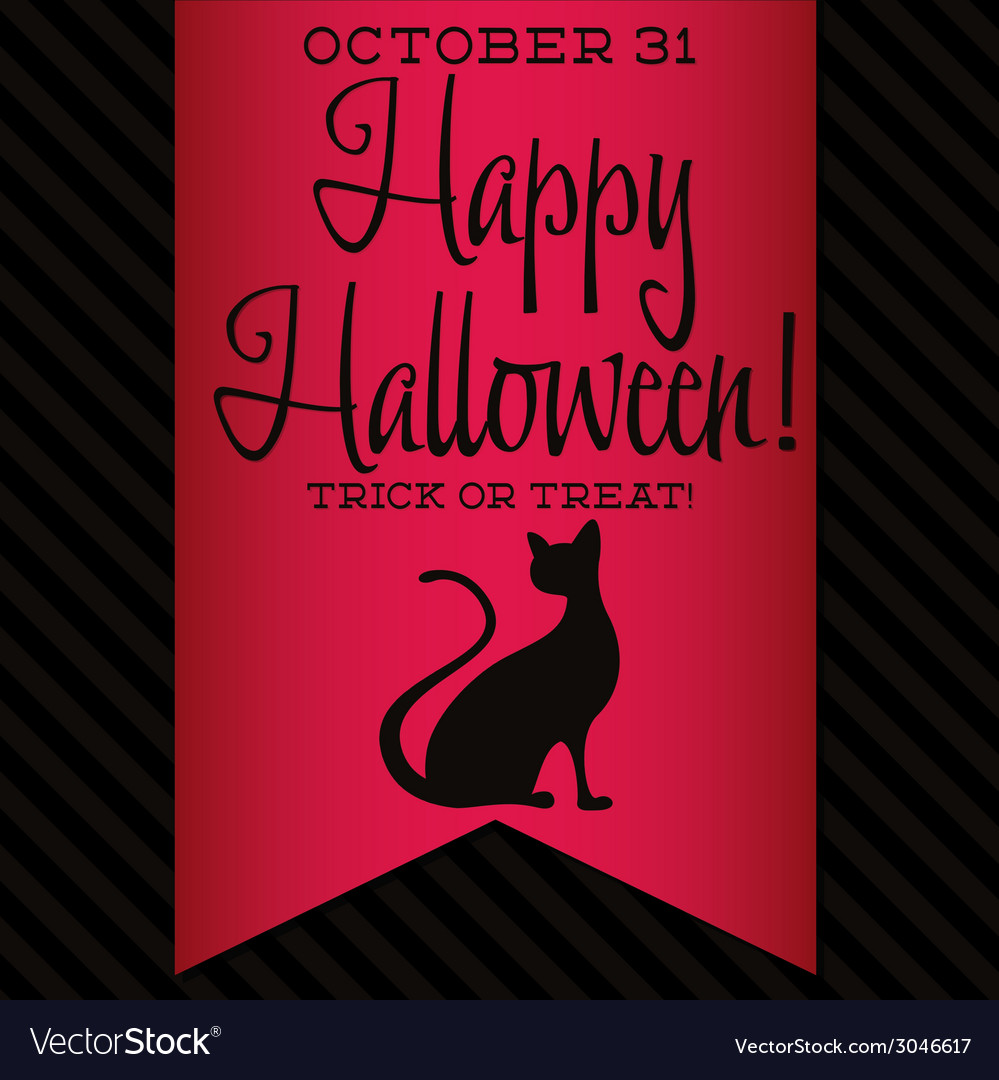 Black cat halloween sash card in format vector | Price: 1 Credit (USD $1)