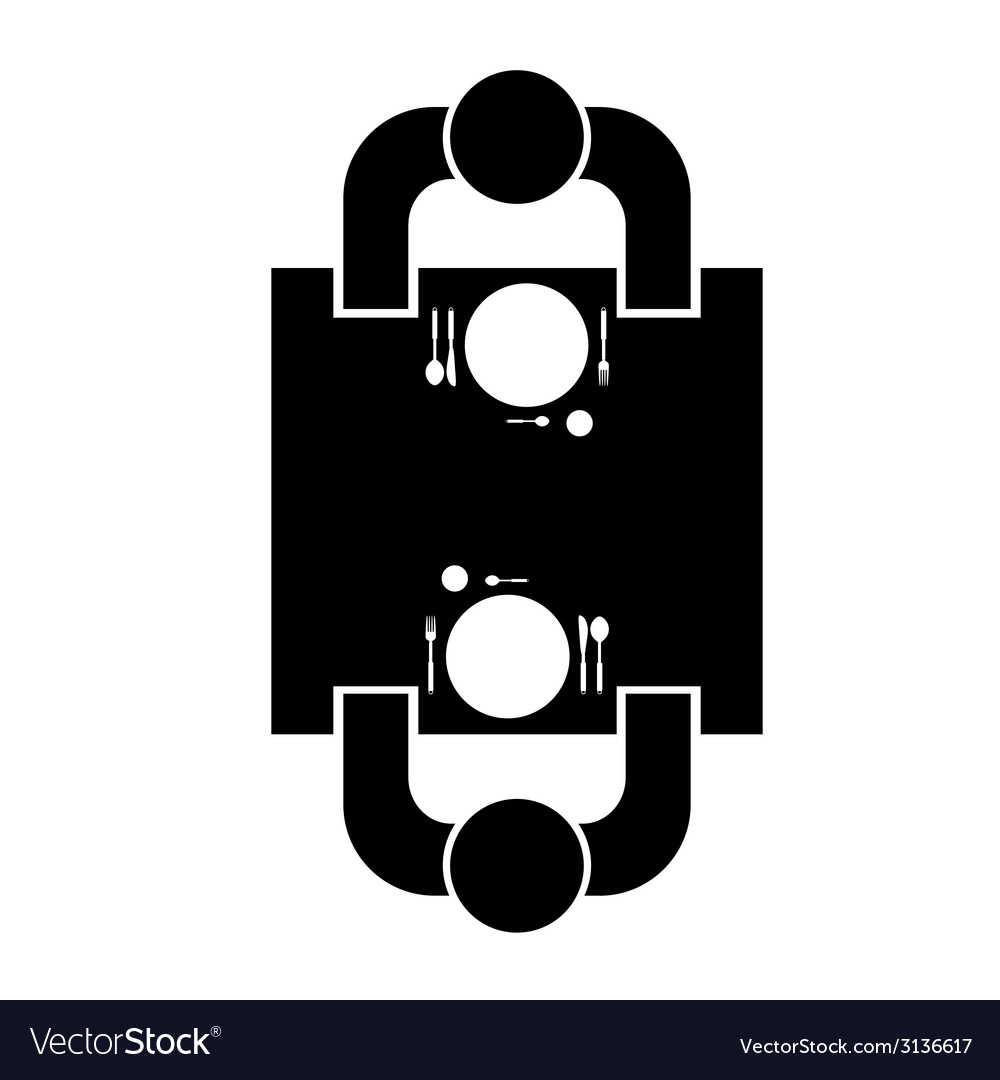 Couple sitting at the table in resaurant icon vector | Price: 1 Credit (USD $1)
