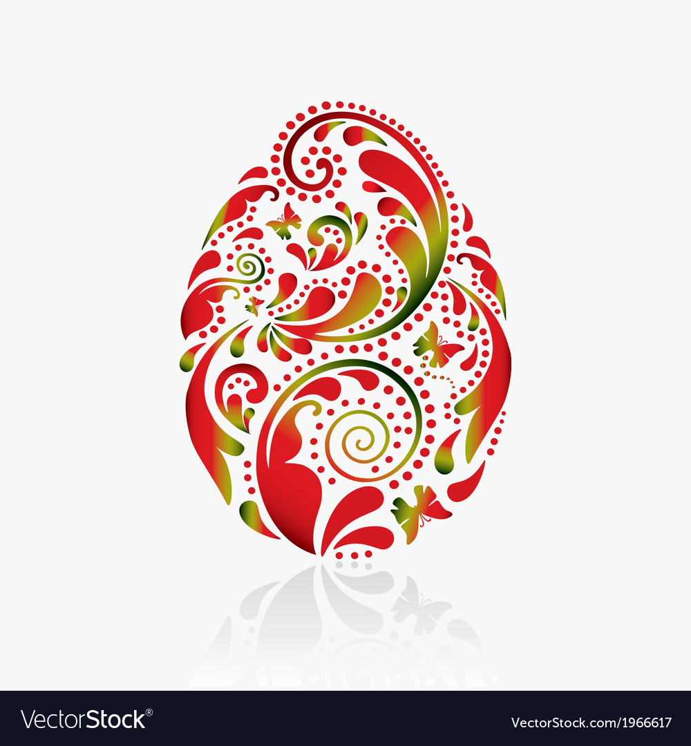 Easter egg from the leaf pattern vector | Price: 1 Credit (USD $1)