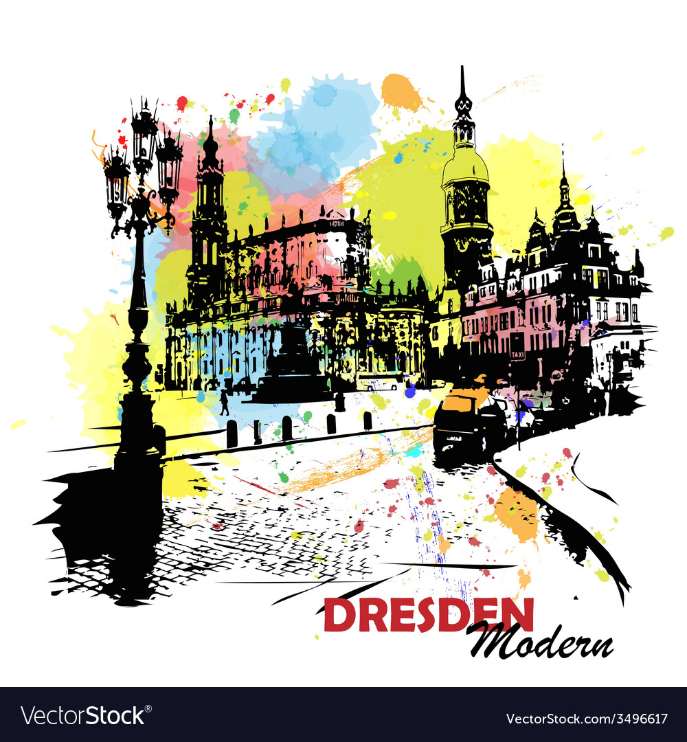European sity sketch dresden germany vector | Price: 1 Credit (USD $1)