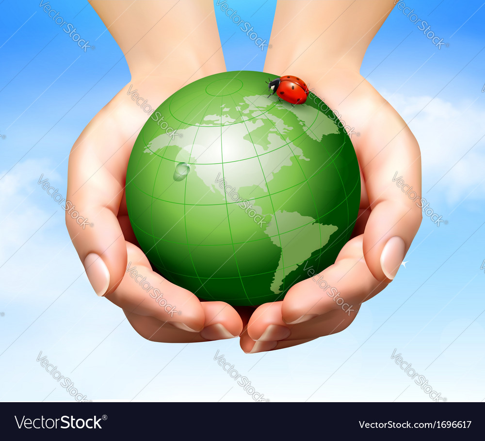 Green world have love bug in hands vector | Price: 3 Credit (USD $3)