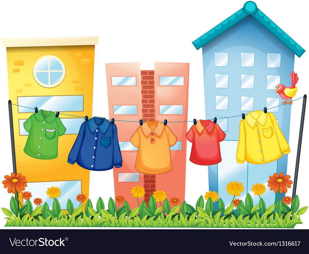 Hanging clothes in front of the buildings vector | Price: 1 Credit (USD $1)