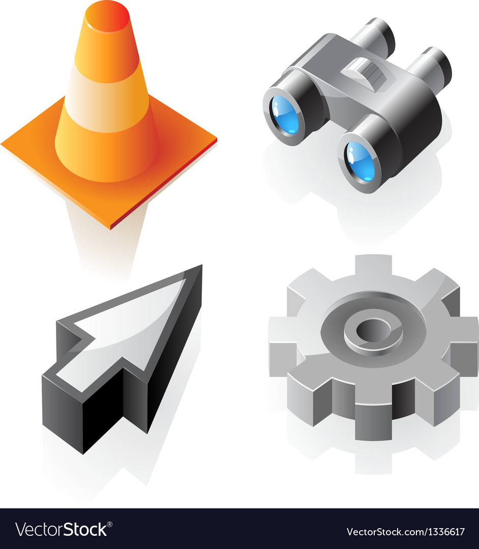 Isometric interface symbols vector | Price: 1 Credit (USD $1)