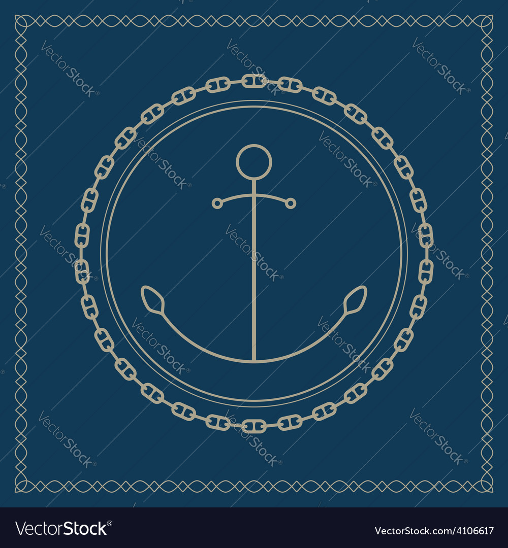 Marine emblem with anchor and chain vector | Price: 1 Credit (USD $1)