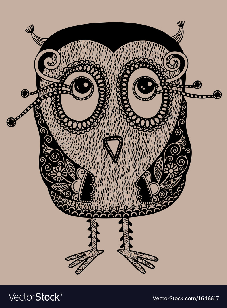 Original modern cute ornate doodle fantasy owl vector | Price: 1 Credit (USD $1)