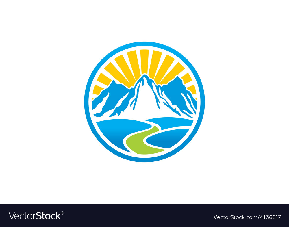 Rocky mountain landscape logo vector | Price: 1 Credit (USD $1)