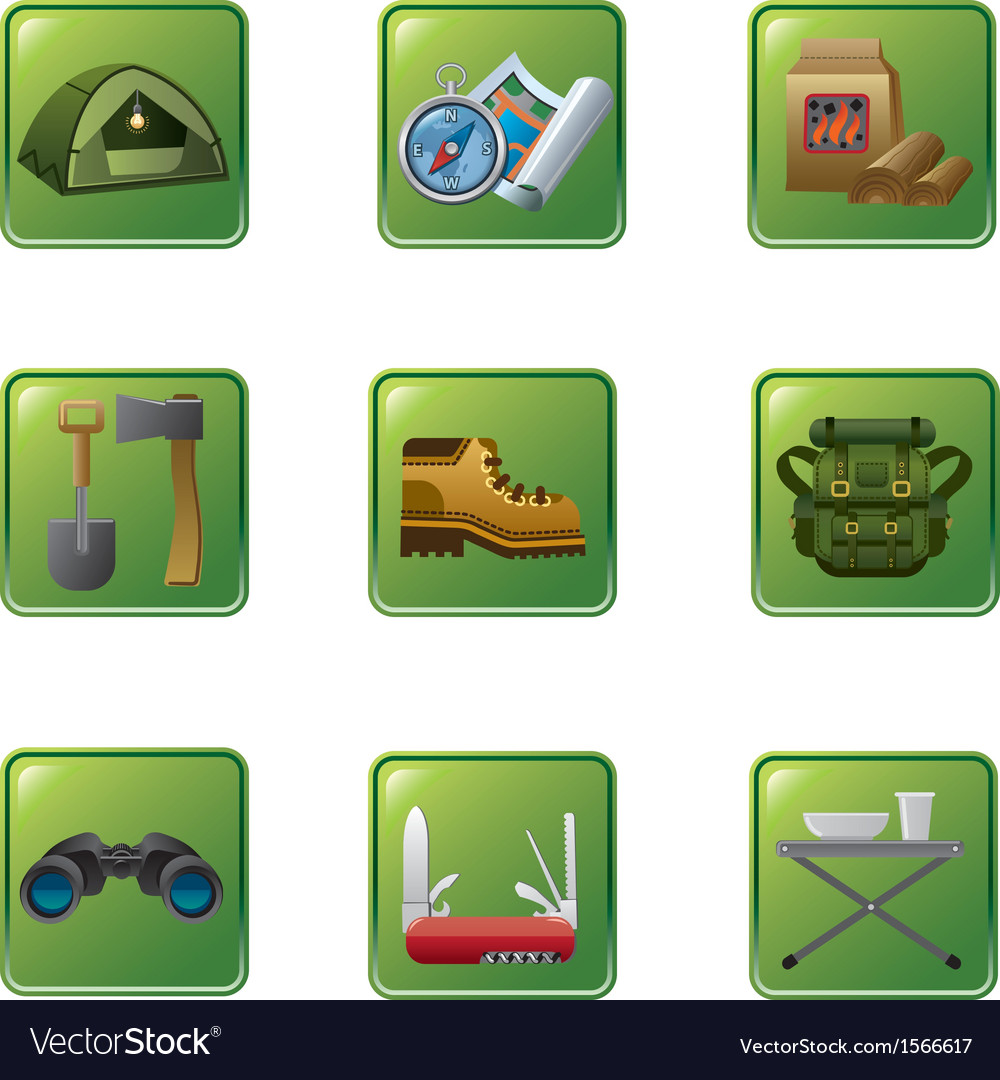 Tourism equipment icon set vector | Price: 1 Credit (USD $1)
