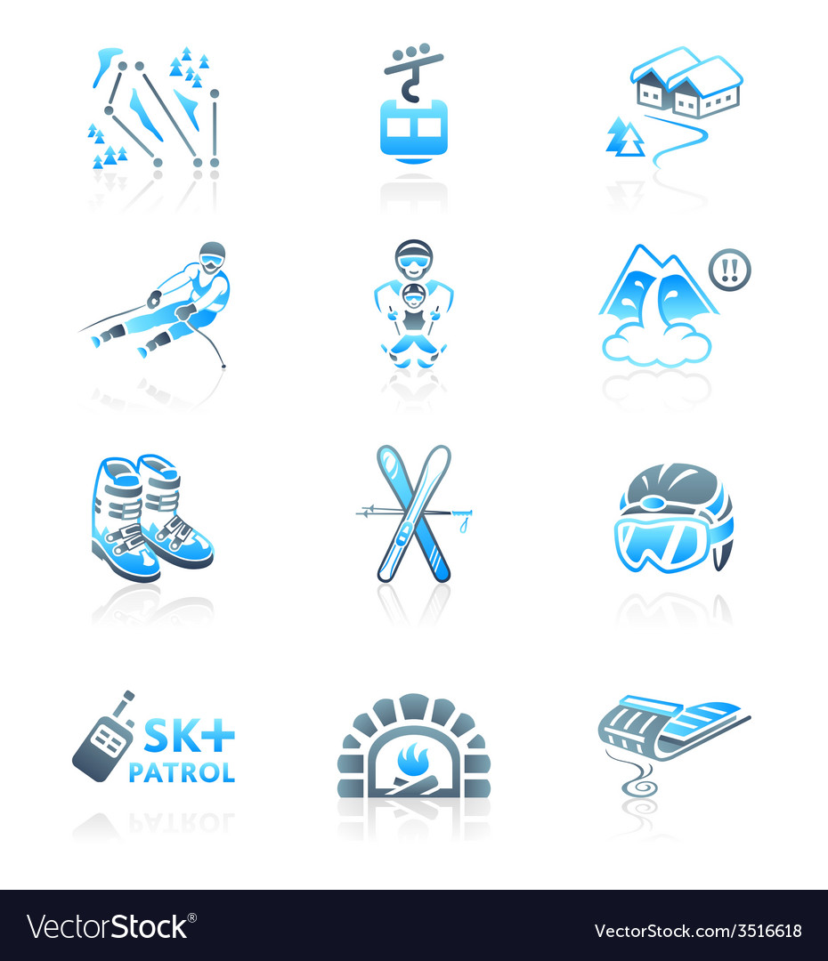 Alpine resort icons vector | Price: 1 Credit (USD $1)