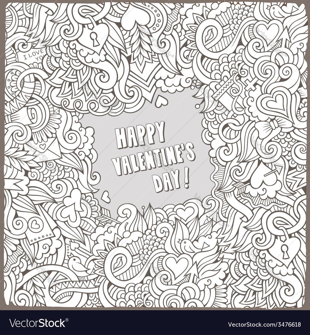 Cartoon valentines day frame background vector | Price: 1 Credit (USD $1)
