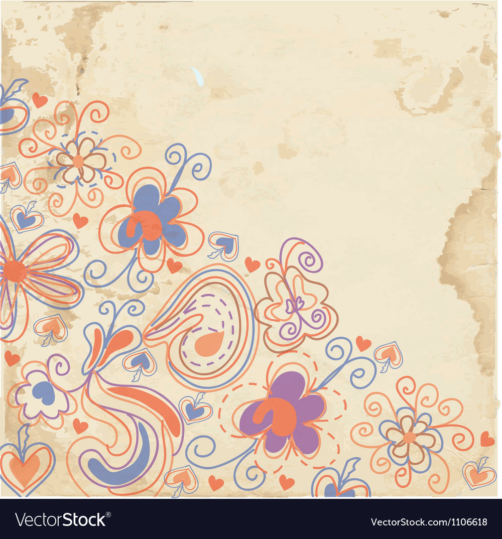 Floral background on the paper texture vector | Price: 1 Credit (USD $1)