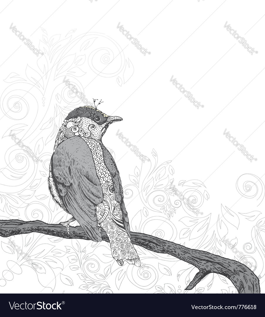 Hand drawn bird on branch vector | Price: 1 Credit (USD $1)