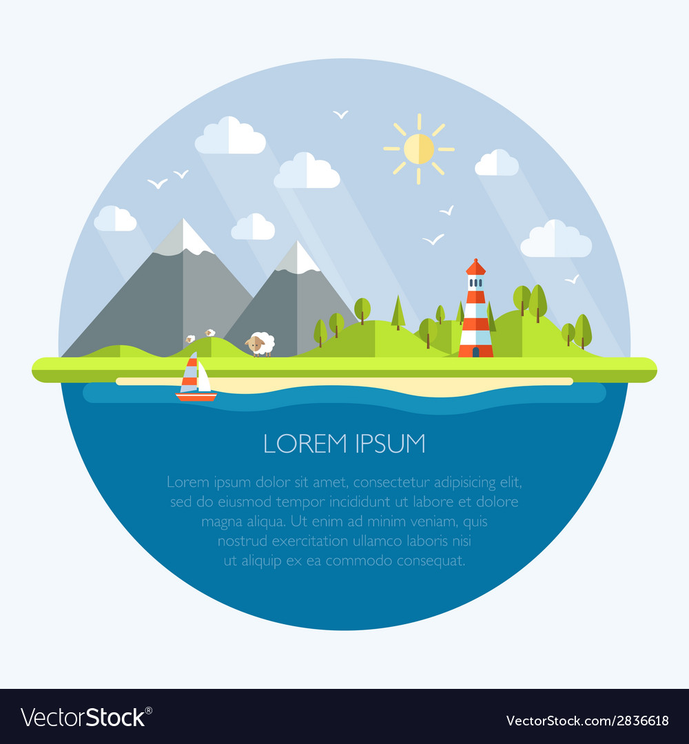 Modern flat design landscape vector | Price: 1 Credit (USD $1)