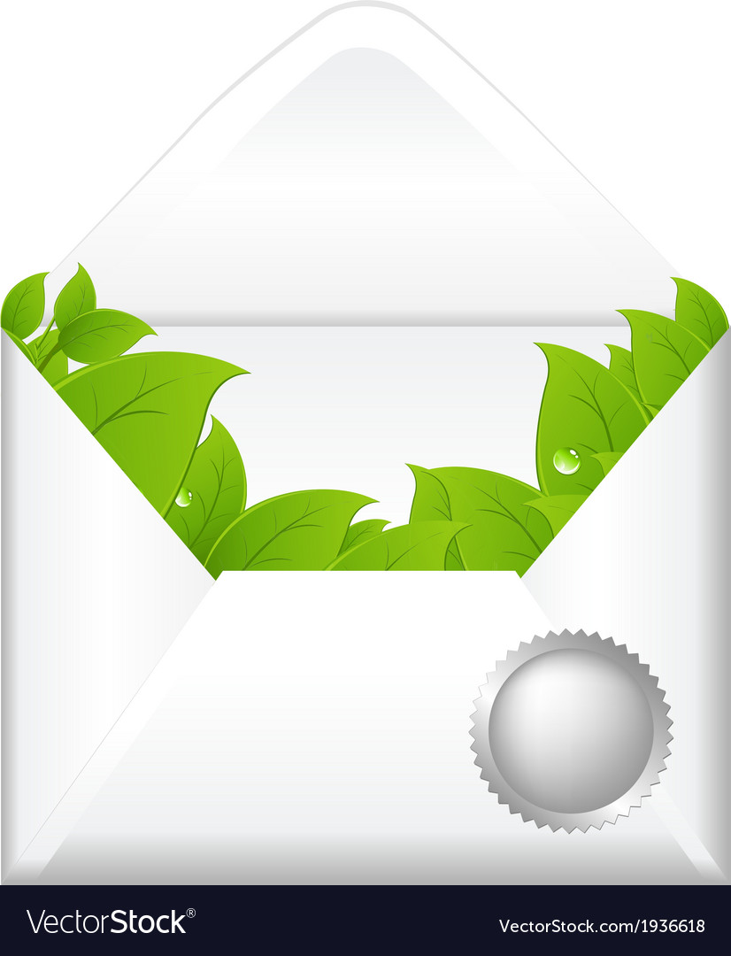 Open envelope with leaves vector | Price: 1 Credit (USD $1)