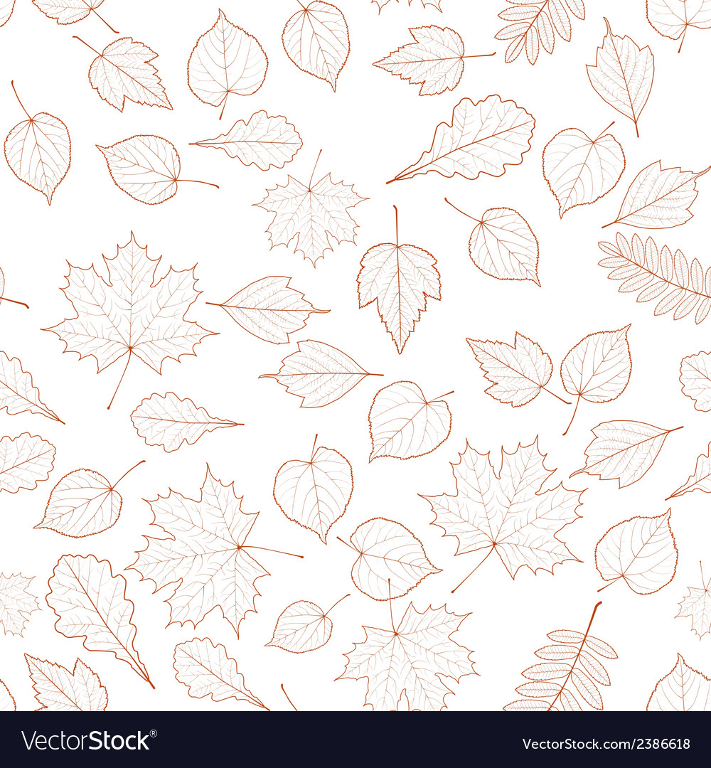 Seamless autumn leaves pattern template vector | Price: 1 Credit (USD $1)