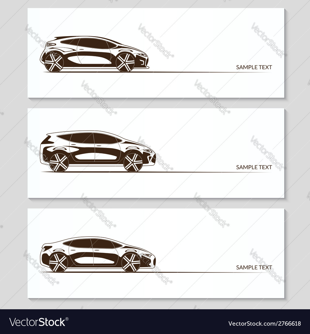 Set of car silhouettes isolated on white vector | Price: 1 Credit (USD $1)