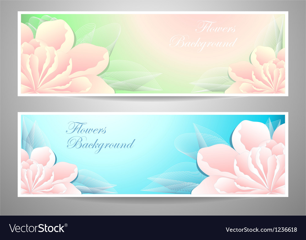 Two flowers banners on green marine background vector | Price: 1 Credit (USD $1)