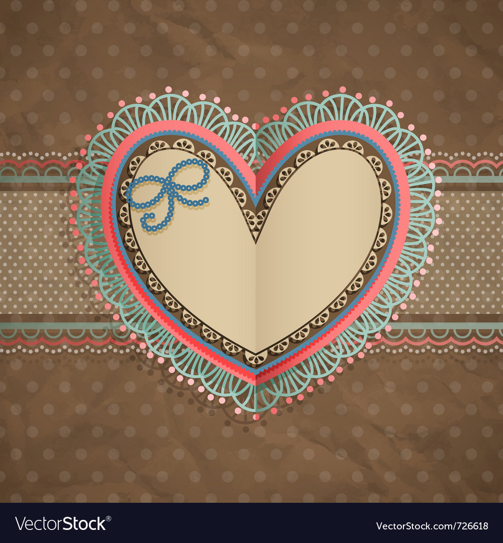 Valentines day vintage lace card vector   Price: 1 Credit (USD $1)