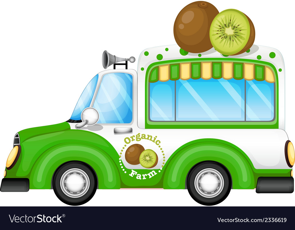 A green vehicle selling kiwi fruits vector | Price: 1 Credit (USD $1)