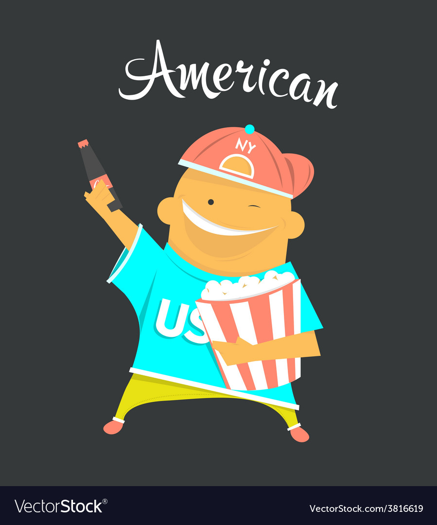 American or yankee man character citizen of the vector