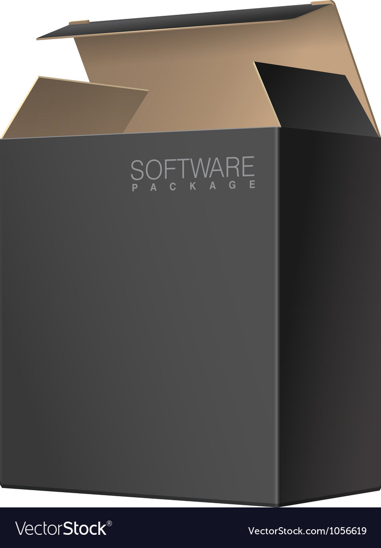 Black package cardboard box opened vector | Price: 1 Credit (USD $1)