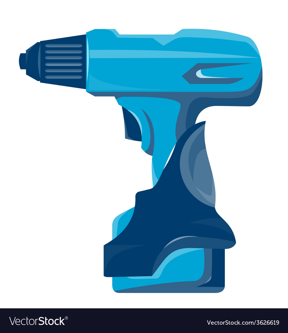 Cordless drill side view retro vector | Price: 1 Credit (USD $1)