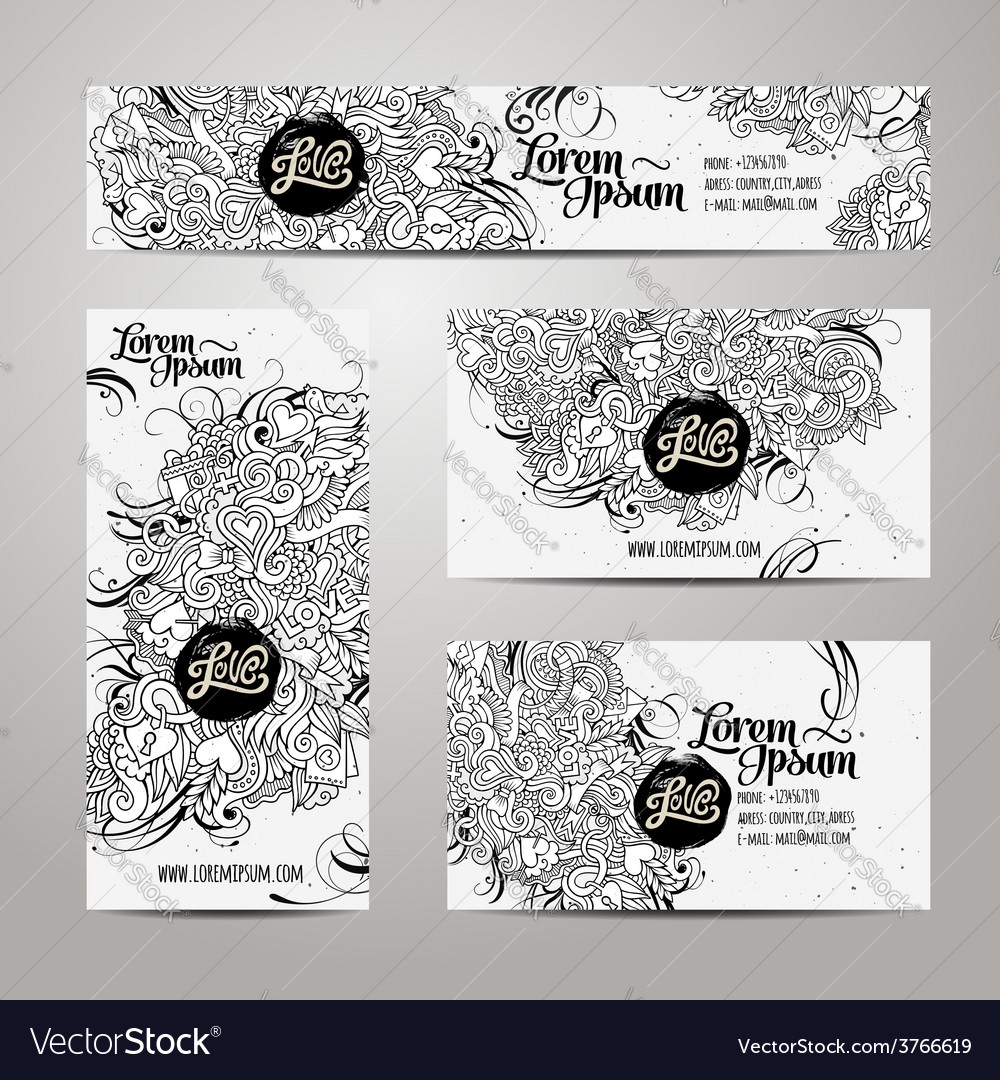 Corporate identity templates doodles love theme vector | Price: 1 Credit (USD $1)