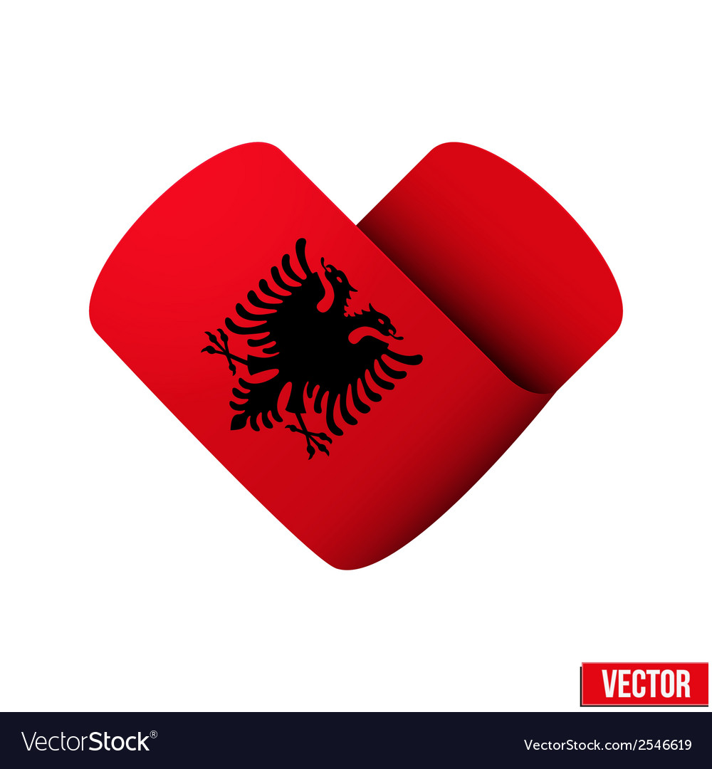 Flag icon in the form of heart i love albania vector | Price: 1 Credit (USD $1)