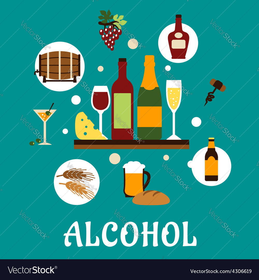 Flat alcohol drinks with snacks vector | Price: 1 Credit (USD $1)
