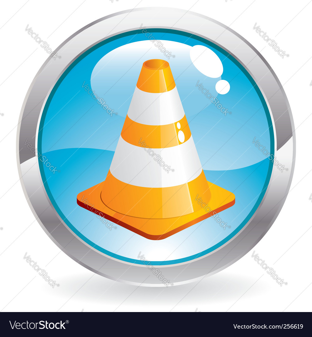 Gloss button with traffic cone vector | Price: 1 Credit (USD $1)
