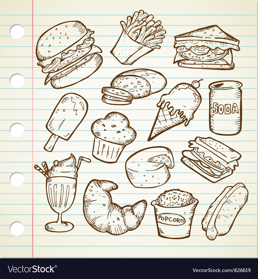 Junk food doodle vector | Price: 1 Credit (USD $1)