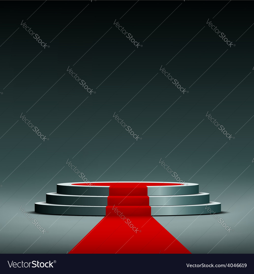 Red carpet on pedestal vector | Price: 1 Credit (USD $1)