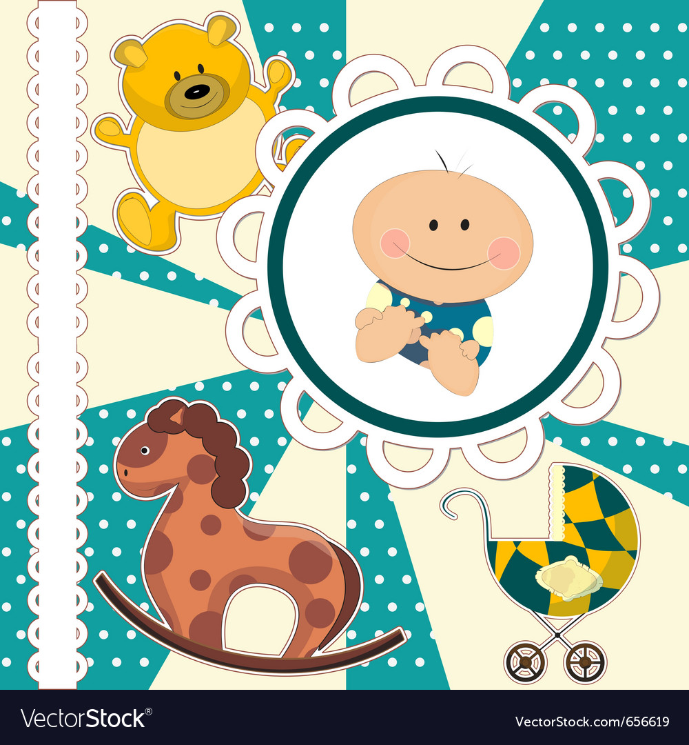 Scrapbooking card for baby boy vector | Price: 1 Credit (USD $1)
