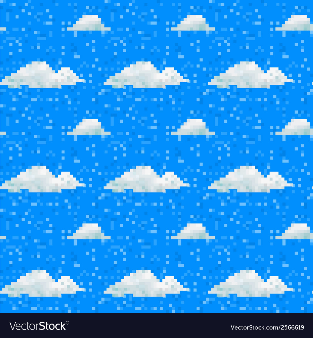 Seamless cloud pattern pixel art vector | Price: 1 Credit (USD $1)