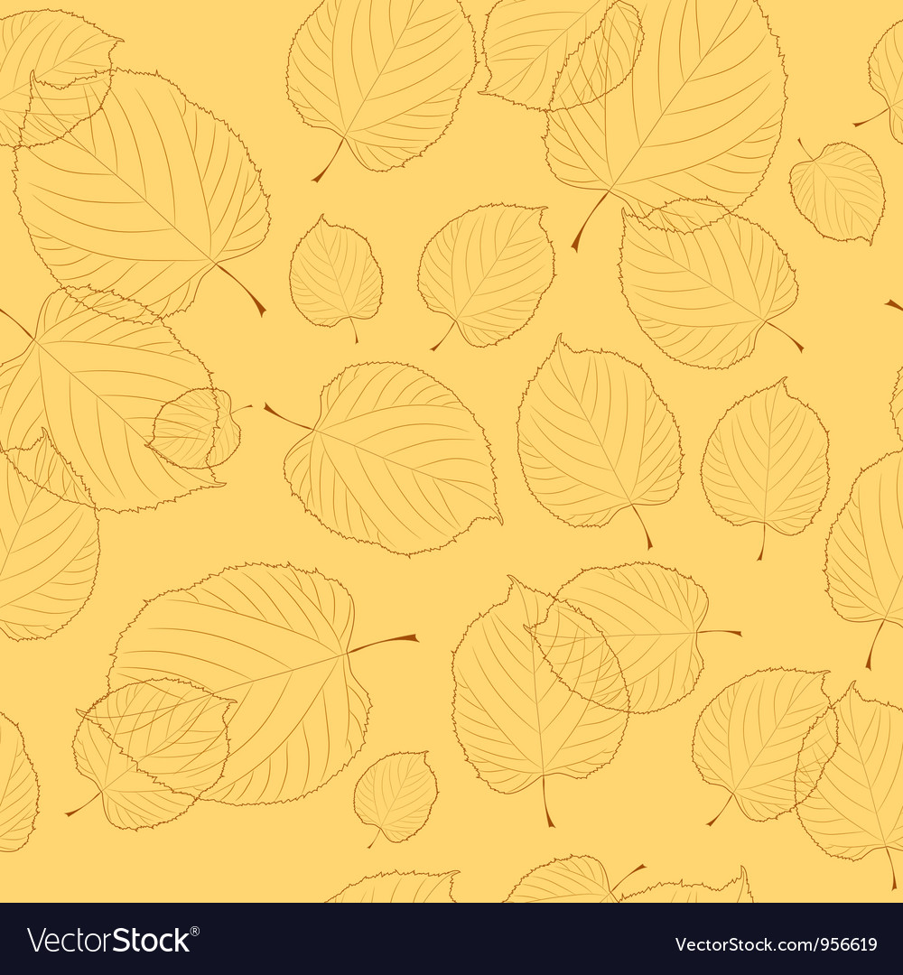 Seamless pattern of autumn leaves on the beige bac vector | Price: 1 Credit (USD $1)