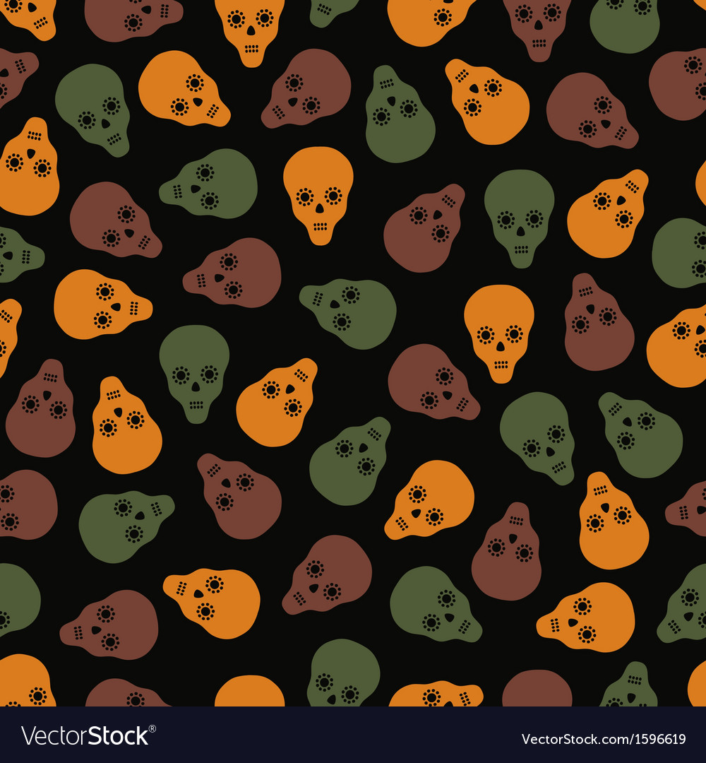 Seamless pattern of skulls on a dark background vector | Price: 1 Credit (USD $1)