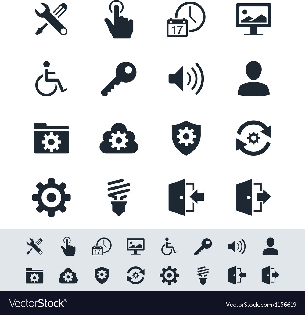 Setting icon set simplicity theme vector | Price: 1 Credit (USD $1)