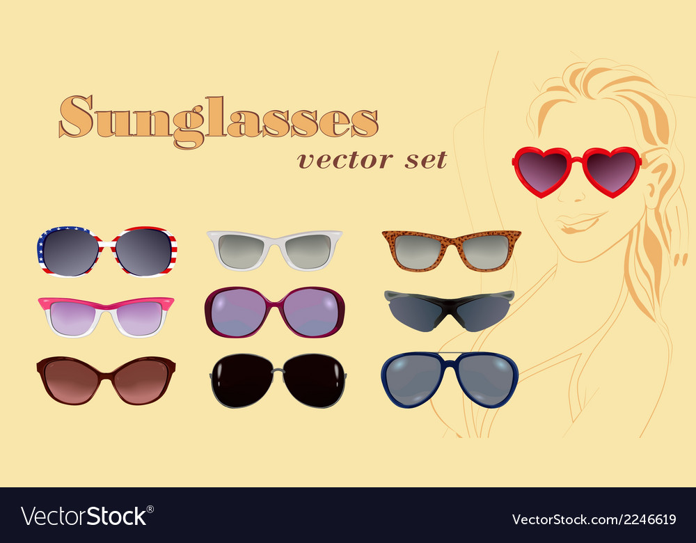Sunglasses set vector | Price: 1 Credit (USD $1)