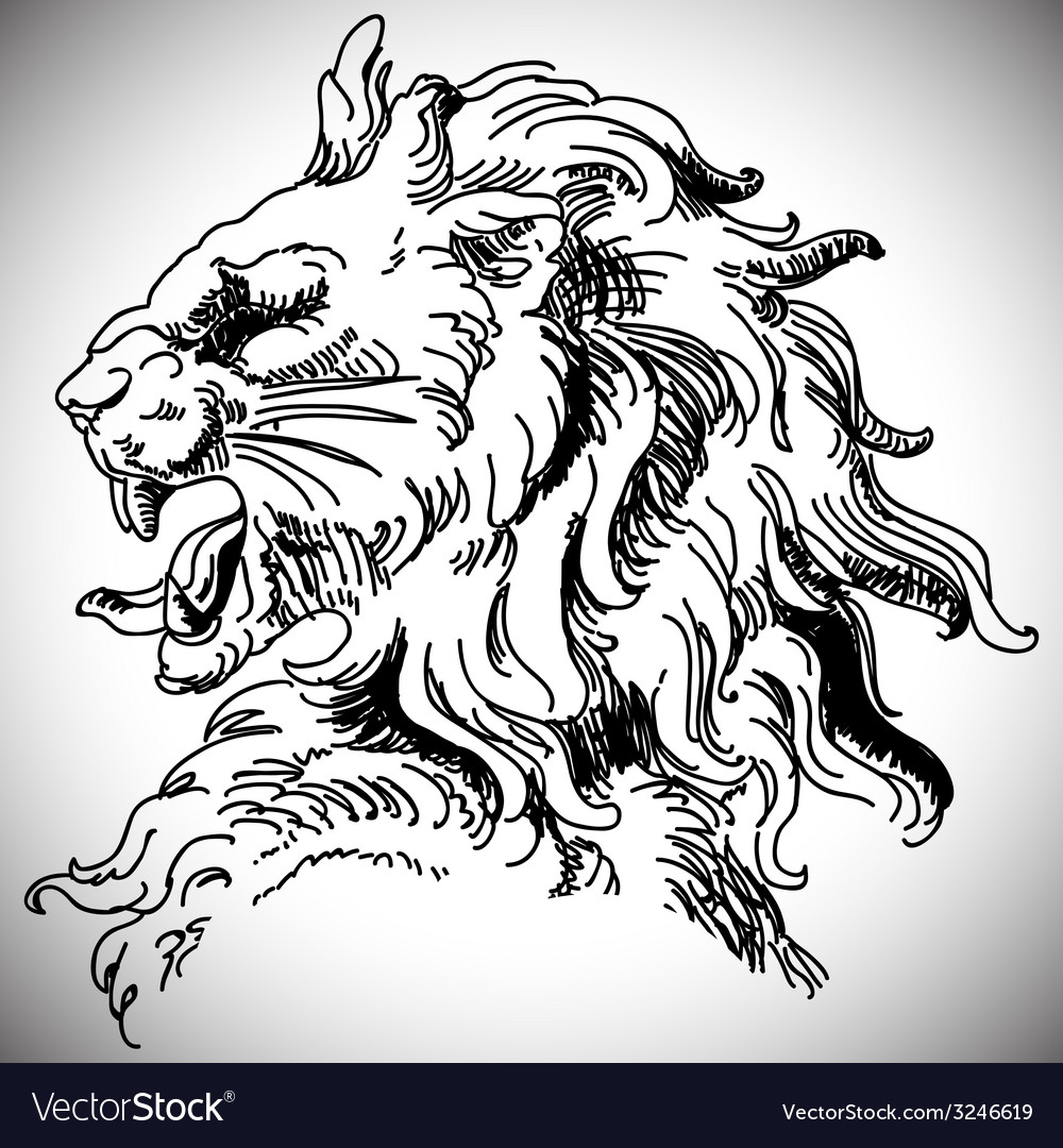 With baroque lion head in victorian style vector | Price: 1 Credit (USD $1)