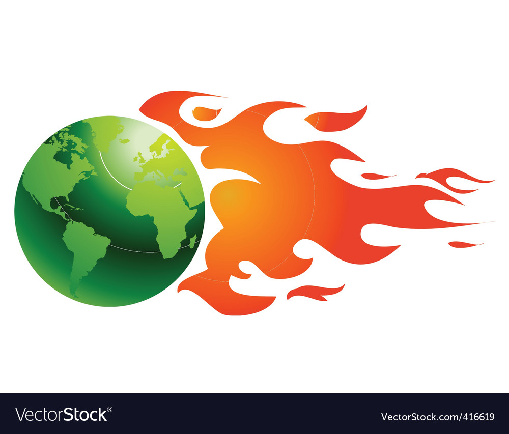 World with flames vector | Price: 1 Credit (USD $1)