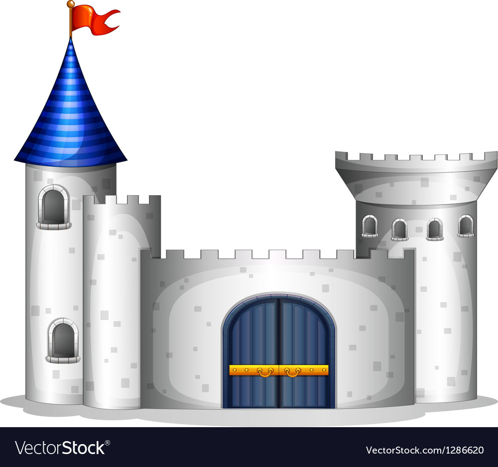 A castle with a red flag vector | Price: 1 Credit (USD $1)