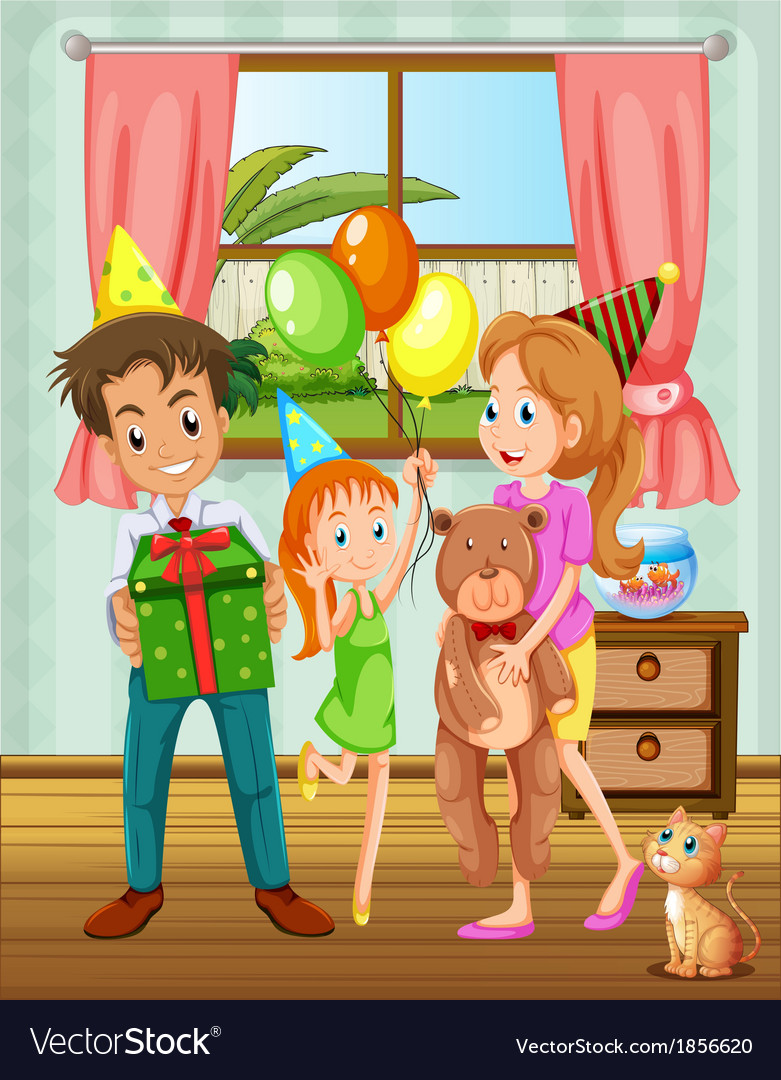 A family inside the house near the window vector | Price: 3 Credit (USD $3)