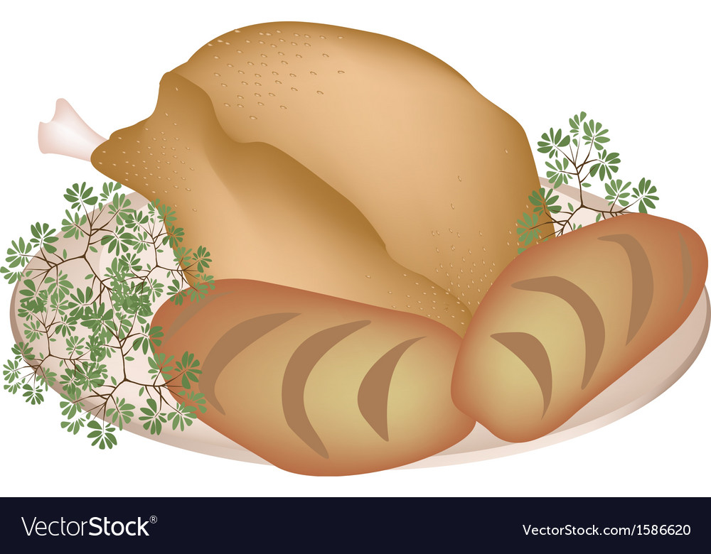 A plate of delicious roast turkey with cornbread vector | Price: 1 Credit (USD $1)