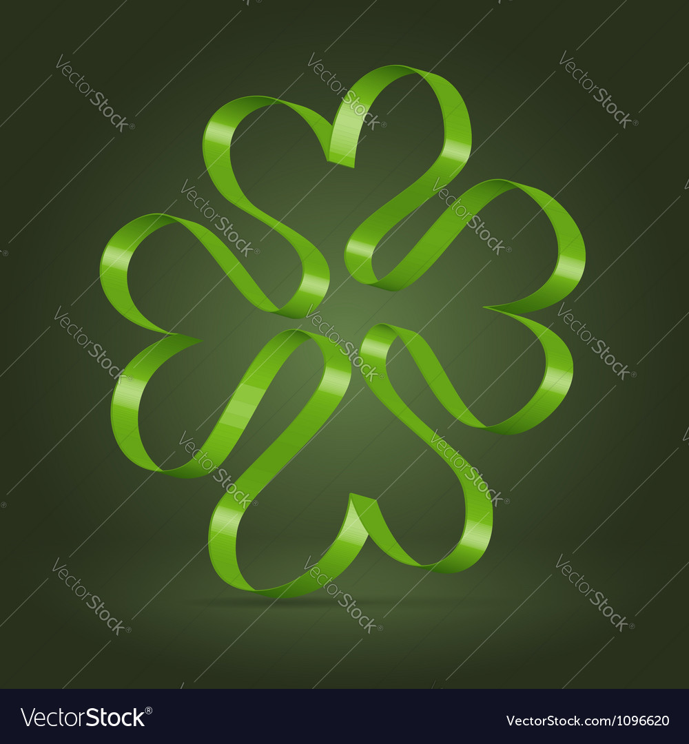 Abstract clover leaf ribbon symbol vector | Price:  Credit (USD $)