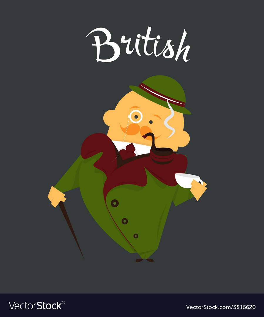 British man or character cartoon citizen of vector | Price: 1 Credit (USD $1)